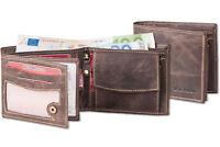 Wild Nature® Geldbörse im Querformat in Dunkelbraun aus feinem Wild Leder
