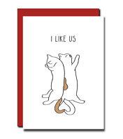 Anniversary card Birthday Boyfriend husband Wife Girlfriend Funny Handmade Cat