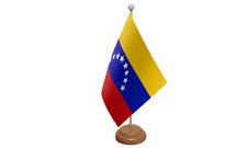 Venezuela 8 Stars Table Flag with Wooden Stand