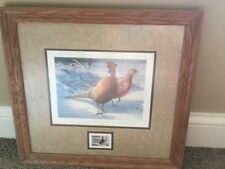 Vintage pheasants forever STAMP  signed print by Daniel smith RARE #3227/5460