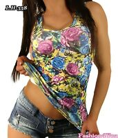 Sexy Ladies Flowers Vest Top Women's Summer Casual Floral Top Size 8,10,12 UK