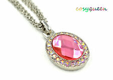 Swarovski Elements Crystal New Pink Rose Oval Dome Silver Necklace Women Gift