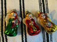 Holiday Christmas Glass Vintage Ornaments Angels Lute, Harp, Horn Set of 3 Box