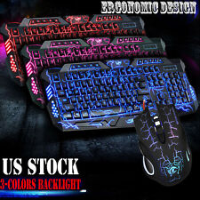 2.4Ghz LED Backlight Wired Gaming Keyboard And Mouse Set Bundles For PC Laptop