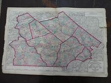 1872 Hand-Colored Map of PA/Counties of Chester, Daupin, York & Lancaster