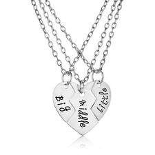 Family 3pcs Little Middle Big Sister Heart Pendant Silver Chain Necklace Charm