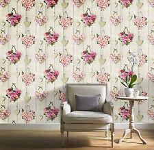 Grandeco Ideco Vintage corazones madera Beam Rosa motivo floral papel pintado