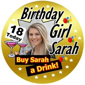 18th LADIES GOLD PERSONALISED BIRTHDAY BADGE, ANY AGE, NAME, PHOTO / NEW / GIFTS