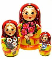 Little Nastya With Flowers 3-piece Russian Stacking Nesting Doll