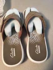 womens size 7 clarks breeze sea sandal-taupe worn 4 hours only