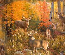 Hunting Fabric - Deer in Fall Forest Nature Scene - Elizabeth's Studio YARD