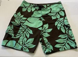 QUIKSILVER Boardshorts Men's Waist 34 Hawaiian Brown Green Tropical Swim Trunks