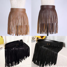 Women Lady Black Hippie Boho Dress Fringe Tassel PU Leather Mini Belt Skirt 32cm