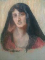 Unique grand pastel portrait jeune femme au voile années 20 - 30
