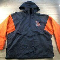 *VTG Competitor Detroit Tigers Navy Blue/orange Hooded Quarter Zip Jacket XL