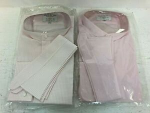 """Men's Pink Stanley Ley Shirts Long Sleeve New 17"""" A43"""