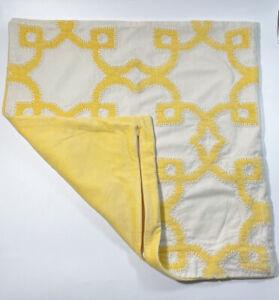 "1 Pottery Barn Trellis Velvet Appliqué Pillow Cover 20"" Square, Yellow"