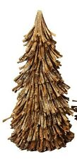 "NIB 10"" Dried SUNFLOWER Husk GOLD Glitter CHRISTMAS TREE Table Top DECORATION"