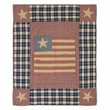 Independence Flag Throw : Usa Rustic Stars Stripes Primitive Quilted Blanket