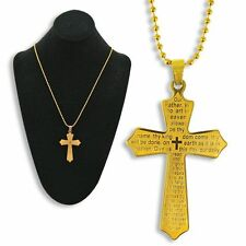 GOLD LORD'S PRAYER CROSS NECKLACE