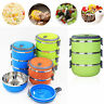 Round Stainless Steel Thermal Insulated Lunch Box Bento Picnic Food Container