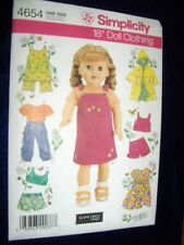 "18"" DOLL NEW Simplicity 4654 Heigl Pattern Fits American Girl Summer Clothes"