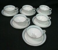 SIX Vintage Noritake Bluebell Tea Cups And Saucers (AD)