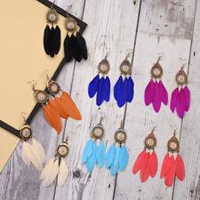 Fashion Bohemian Boho Crystal Long Feather Tassel Drop Dangle Earrings Jewelry