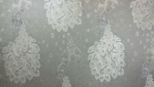 61 inch Wide Upholstery/Drapery Jacquard Fabric Peacock Silver By The Yard