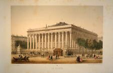 c1870 Paris Bourse Börse Exchange Palais Brongniart Getönte Farblitho Hautecoeur