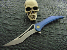 HEA Design Flame only 99 Made !!! INTEGRAL Blue Titanium Frame Tactical Folder