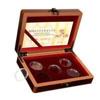 5 Coins Wood Case Display Box Wooden Storage Holder Collection Round Capsules