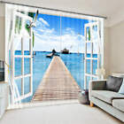 Window Ocean View Jetty to Sea 3D Blockout Photo Printing Curtains Draps Fabric