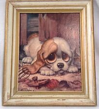 Gig Big Eyes Puppy Print Framed Pop Art Lithograph Signed 1960s's DAC Reseller