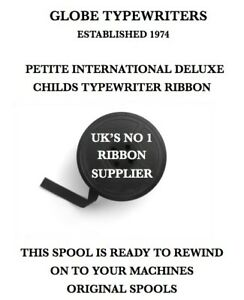 🌎 1 x PETITE INTERNATIONAL DELUXE TYPEWRITER RIBBON ON A SPOOL READY TO REWIND
