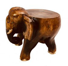 Elephant Stool Wooden Hand Carved Acacia Table Side Wooden Lamp Plant Stand