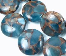 18mm Aquamarine Quartz with Pyrite / Gold Vein Disc Coin Beads (10)