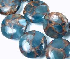 18mm Aquamarine Quartz with Pyrite / Gold Vein Disc Coin Beads (10)
