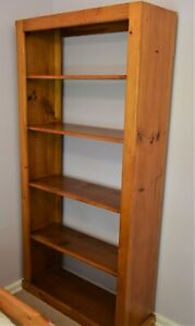 BOOKCASE SOLID PINE TIMBER 5 SHELF STORAGE 1840 X 900 NICE CONDITION.