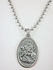 "St George Medal Italy Pendant Necklace 24"" Ball Chain Gift Box & Prayer Card"