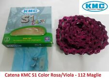 Catena KMC S1 Color 1 Velocità 112 Maglie Viola per bici 26-28 Single Speed