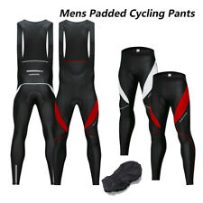 Outdoor Mens Cycling Long Pants Bike Bicycle Padded Bib Tights Trousers Black