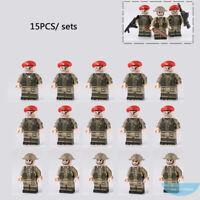 15PCS World War II Building Blocks British Red Devils Paratroops Mini Figure Toy
