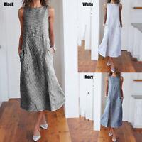 Womens Sleeveless Cotton Basic Striped Long Maxi Dress Flared Plus Size Sundress