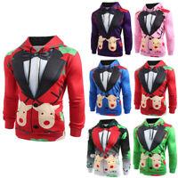 UGLY XMAS CHRISTMAS SWEATER Men's Hooded Sweatshirt Pullover Hoodie Jacket Coat