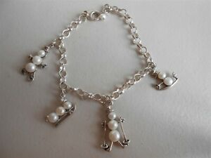 FUNKY CULTURED PEARL SNOWMAN BRACELET STERLING