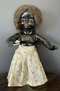 """Antique Rare Composition African American Doll Jointed  Glass Eyes! 13"""""""