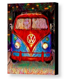 Framed Abstract VW Bus Van Volkswagon Art Print Limited Edition w/signed COA