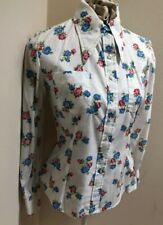 New listing Vintage 1960's Pointed Collar Red Blue Flower Blouse Top 38