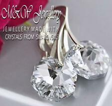 925 Sterling Silver Earrings Crystals From Swarovski® 12mm OCTAGON - Crystal CAL
